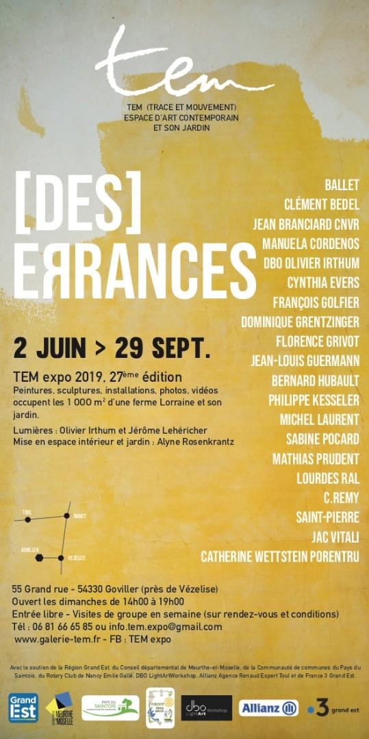 """""""Des errances"""" TEM expo 2019, 27ème édition"""